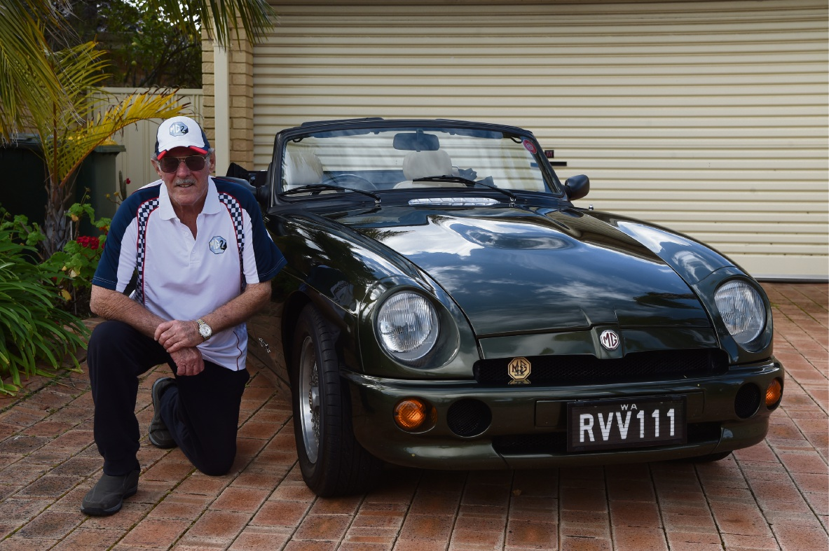 Brian Dalton with his MG RV8. Picture: Jon Hewson www.communitypix.com.au   d474188