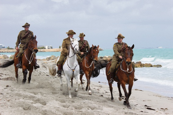Members of the 10th Light Horse Memorial Troop riding along the beach at CY O'Connor Reserve at last year's 183rd anniversary family fun day.