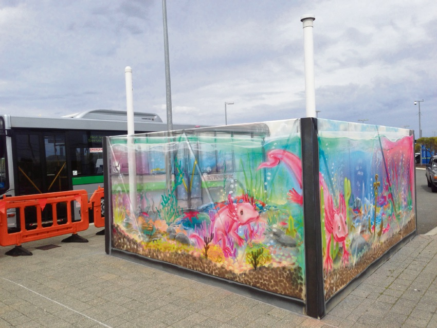 Urban Art project participants have created an aquarium piece at the Warnbro station.
