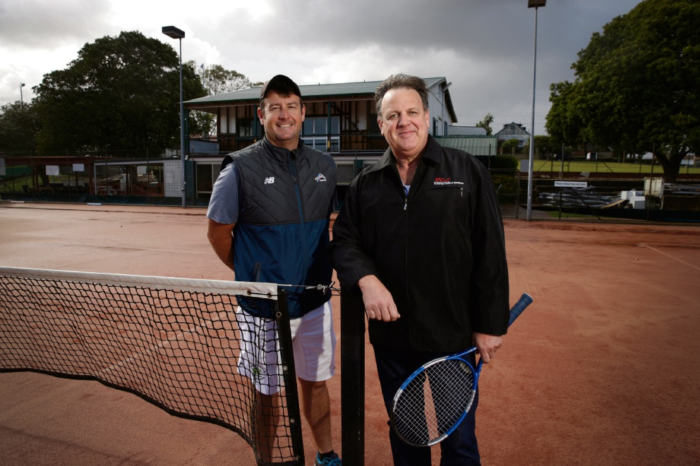 Head coach Anthony Harbrow and club president Dan Kerringan with the soon-to-be-demolished clubs rooms behind them. Picture: Andrew Ritchie    d474189