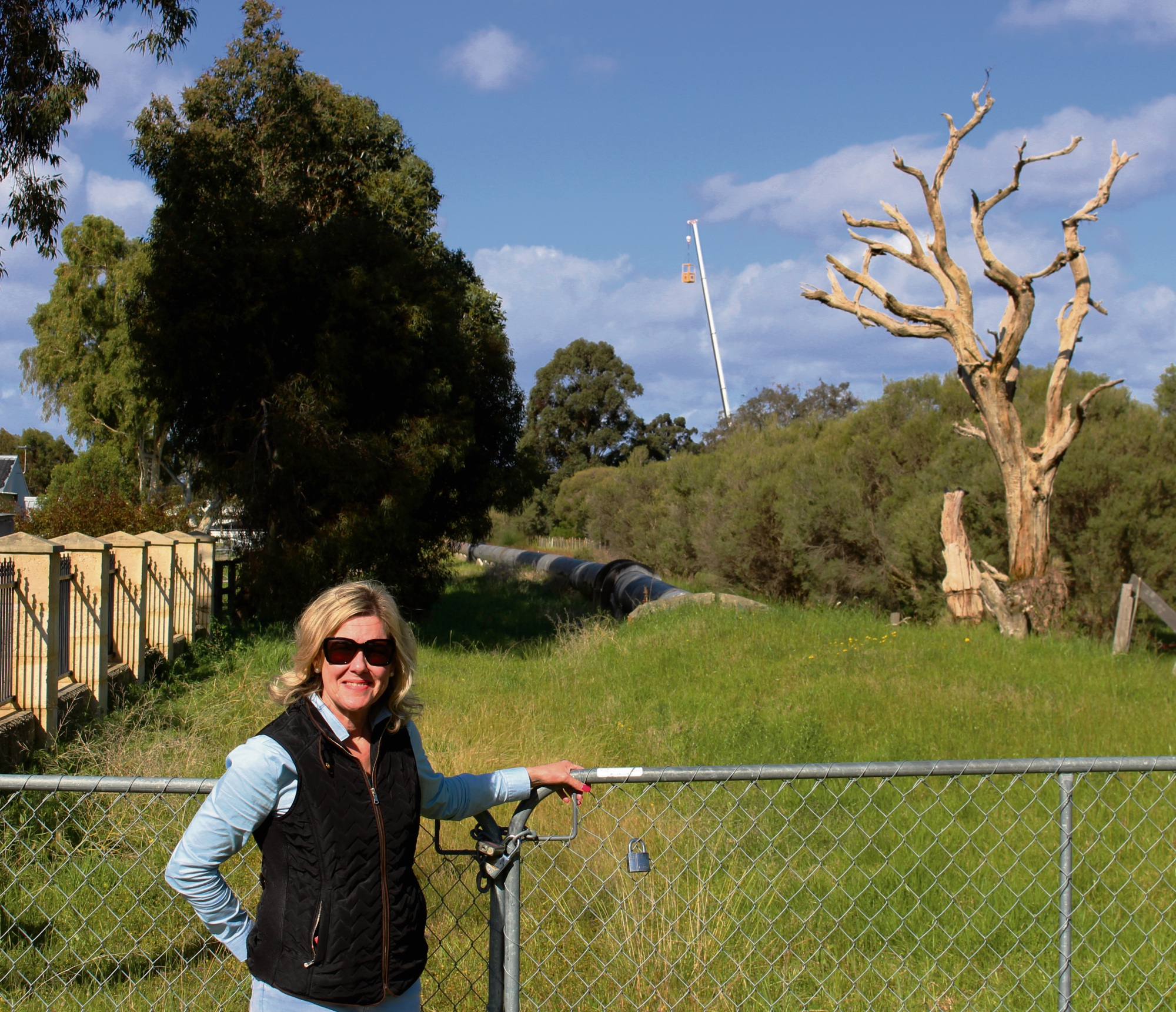 Councillor Lee-Anne Smith outside a Harper Street property proposed for a Vodafone telecommunications tower. Picture: Bronwyn Donovan
