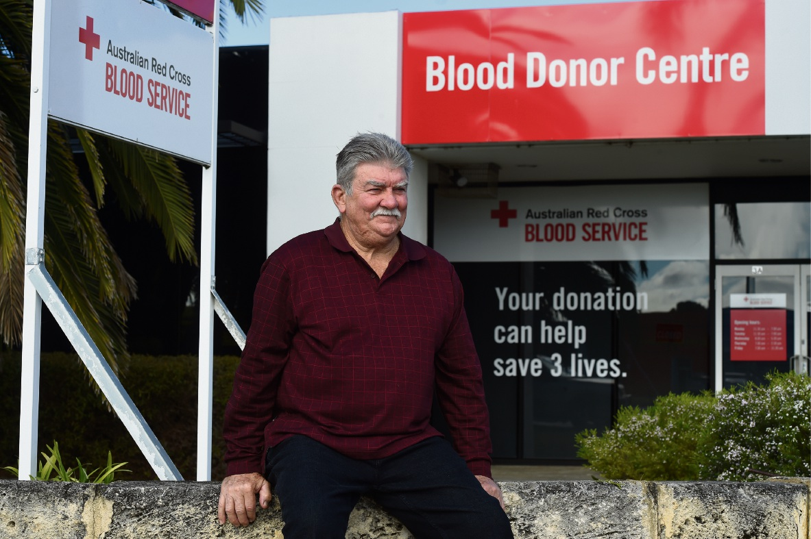 Rockingham man Wayne Goodsell has been donating blood for 50 years. Picture: Jon Hewson www.communitypix.com.au d474145
