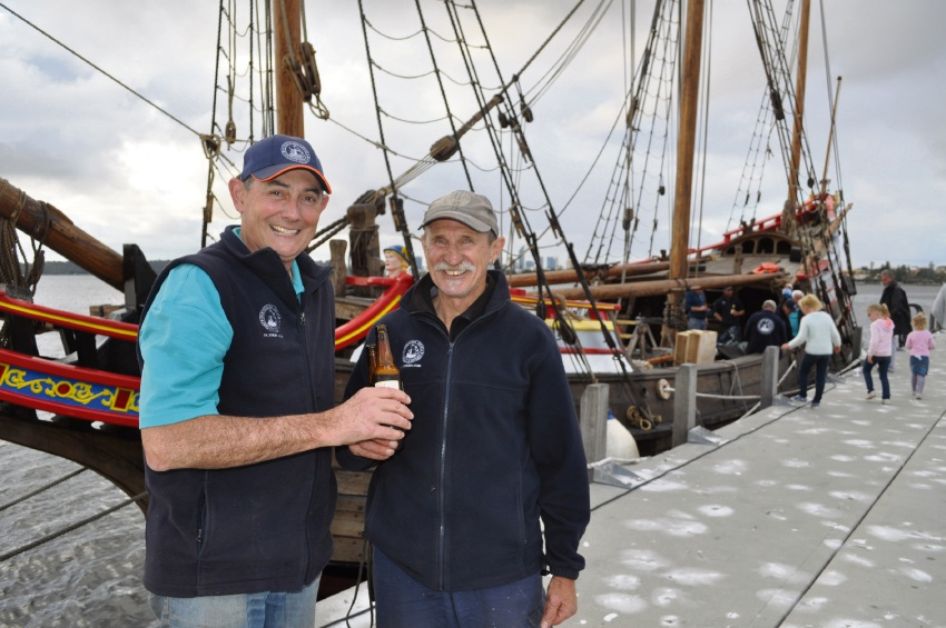 Duyfken 1606 Replica Foundation chief executive Peter Bowman and 18-year-volunteer Frank Talen after reaching the South of Perth yacht Club on Wednesday.