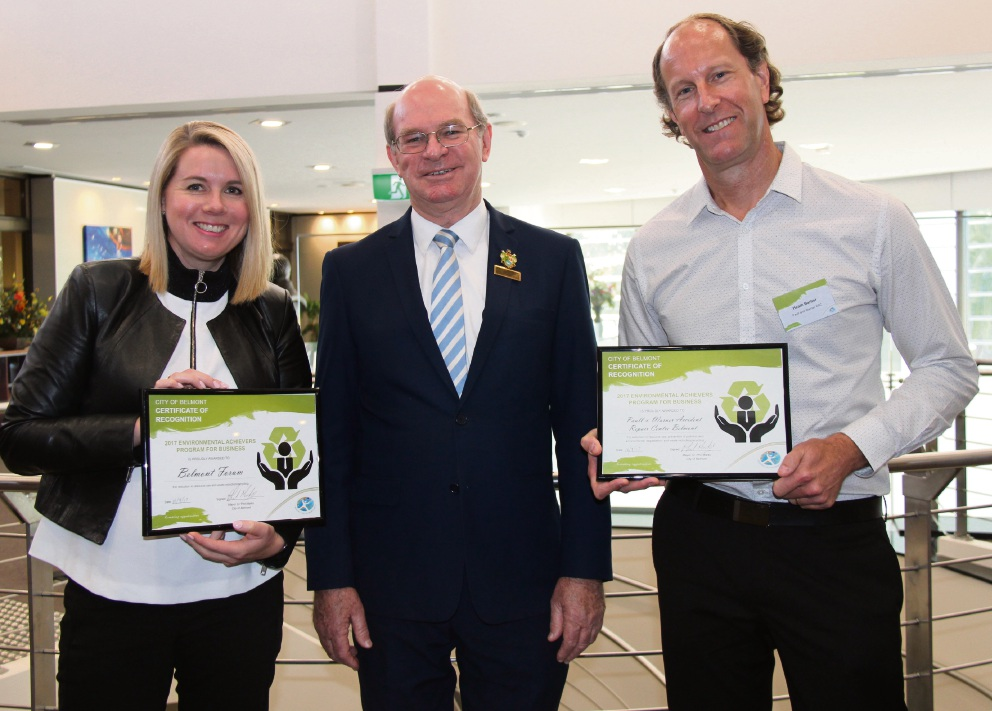 Belmont Forum manager Alexandra McAuliffe, Mayor Phil Marks and Heath Barber from Paull and Warner Accident Repair Centre.