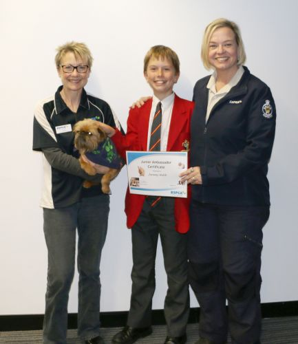 Janet Ingham, Hamish, Jeremy Black and RSPCA WA community outreach co-ordinator Nat Foster.