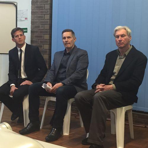Mayoral hopefuls Rhys Williams, Peter Jackson and Mark Brzezinski.