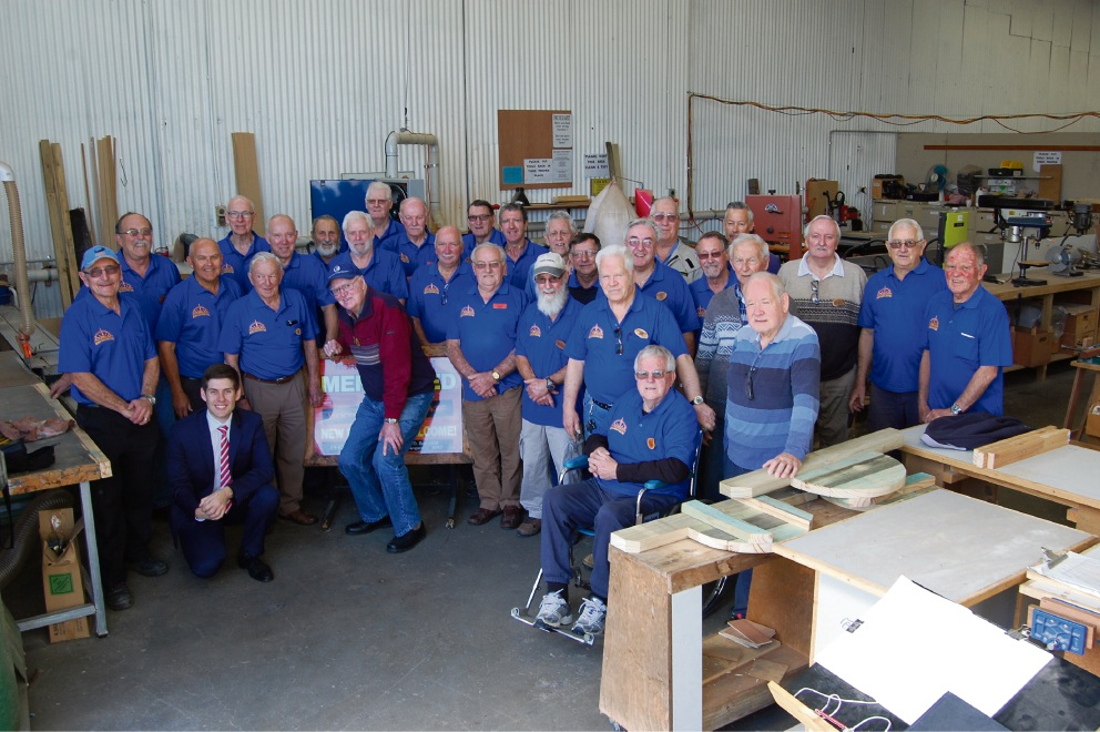 Wanneroo Councillor Domenic Zappa and Northern Suburbs Men's Shed members.