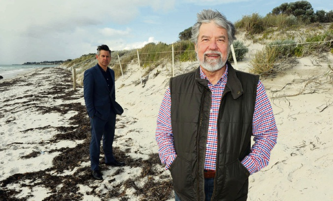 Mayors Brad Pettitt (suit) and Ron Norris (beard) have different challenges to the erosion caused by the same rises in sea levels. Picture: Jon Bassett