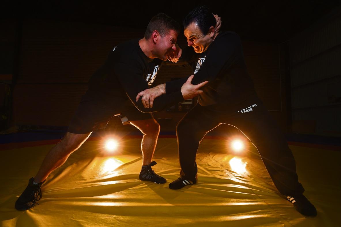 Troy 'Hercules' Humberston and new national wrestling coach Jadranko 'Adrian' Tesanovic. Picture: Jon Hewson www.communitypix.com.au   d474157