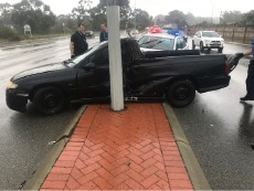 The Holden Commodore police say was involved in a short pursuit before crashing into a South Lake street light on September 21.
