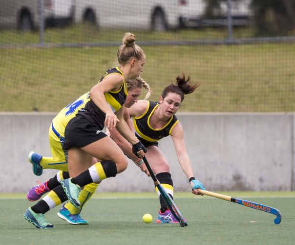 Georgia Wilson and Rachel Fusher in action vs Qld during this year's AHL. Picture: Click InFocus