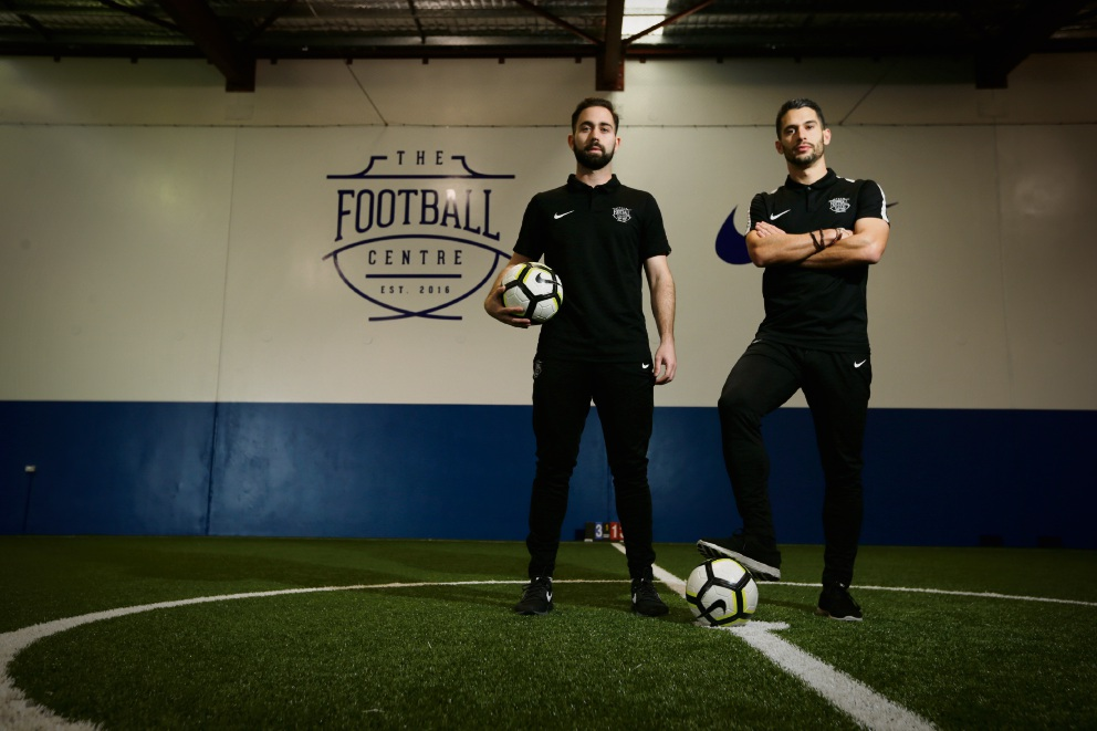 Reece Vittiglia and Dean Evans at The Football Centre in Osborne Park. Picture: Andrew Ritchie     d474487