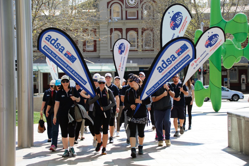 ADSA trekkers keep the pace to raise awareness of asbestos-related diseases. Picture: Asbestos Diseases Society of Australia Inc