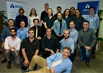 Alcoa apprentice co-ordinator Kevin Lunn (front) with the 2017 WA apprentice graduates.