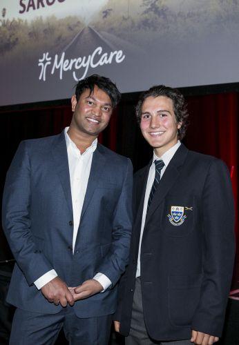 Saroo Brieley with Trinity College's Damian Pisano.