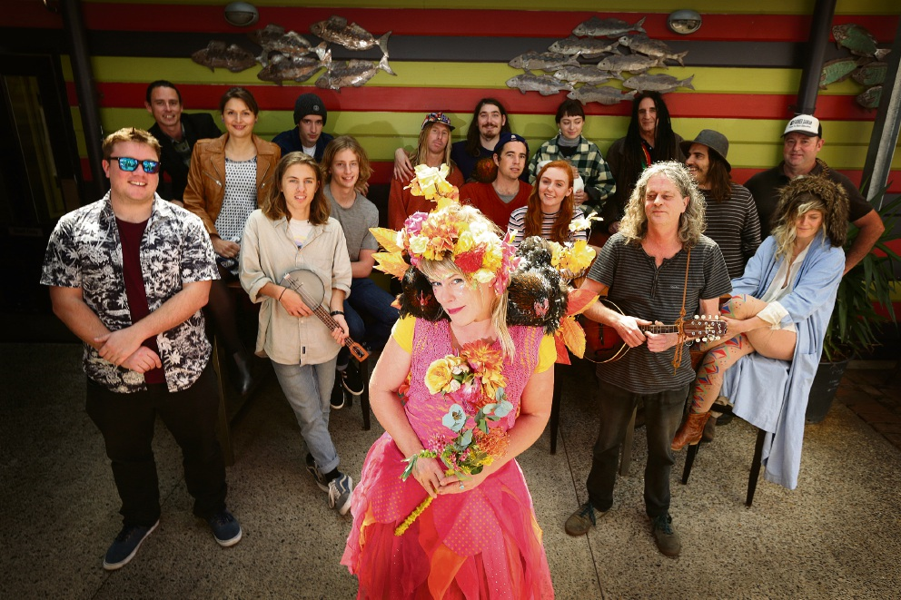 Fairy Sandie with a number of Fremantle Folk Festival acts. Picture: Will Russell www.communitypix.com.au d473164