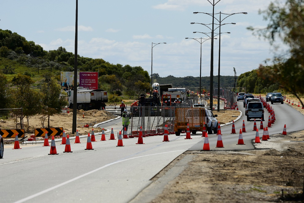 Road works underway to connect Pectoral Promenade with Marmion Avenue in Alkimos. Picture: Will Russell d474550