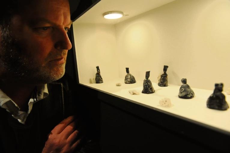 Artist Paul Uhlmann with Archaeology of Birds. Picture: Jon Bassett