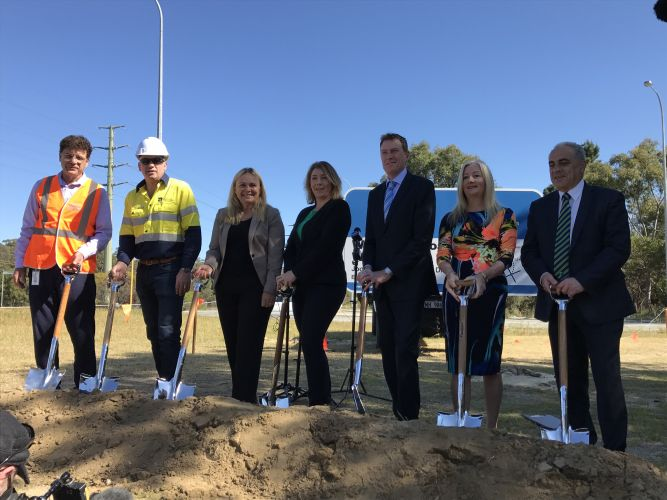 Politician and officials turn the first sods for the Wanneroo Road widening project. Picture: Tyler Brown