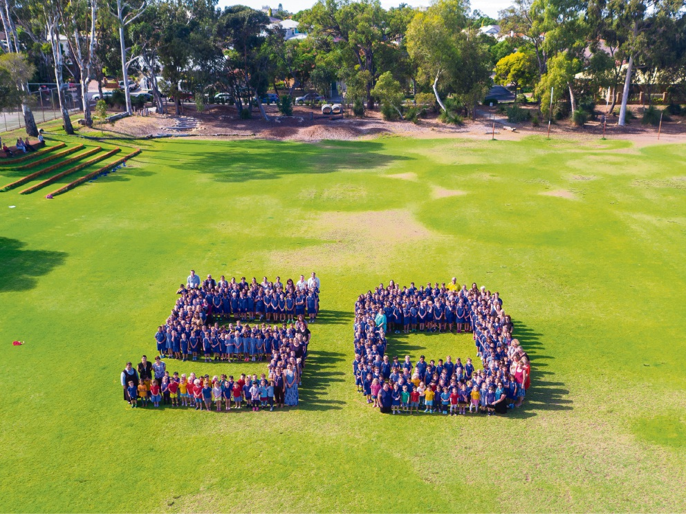 Booragoon Primary School staff and students spelled out a giant 50 as part of celebrations for the school's 50th anniversary earlier this year. Picture: Richard Bazen/www.nationaldrones.com.au