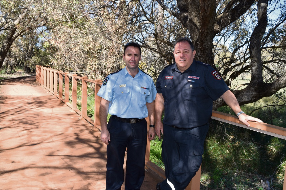 Department of Fire and Emergency Services District Officer Swan Nigel Elliott and Malaga Fire Station B Platoon station officer Mick Diallo.