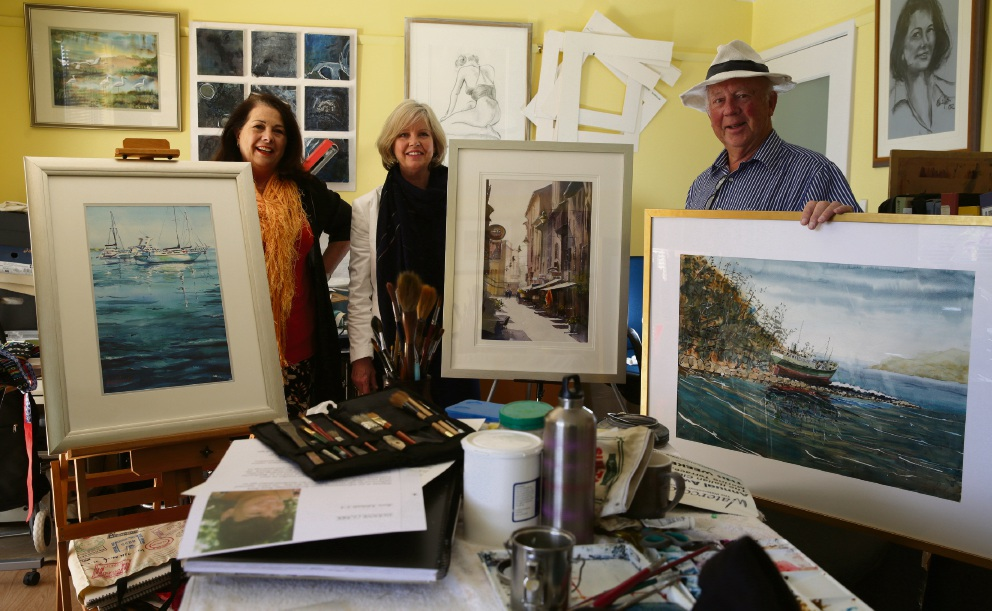 Watercolour Society of WA artists Lucy Papalia (Carine), Cass Gartner (Iluka) and Paul Hurd (Sorrento). Picture: Martin Kennealey d474684