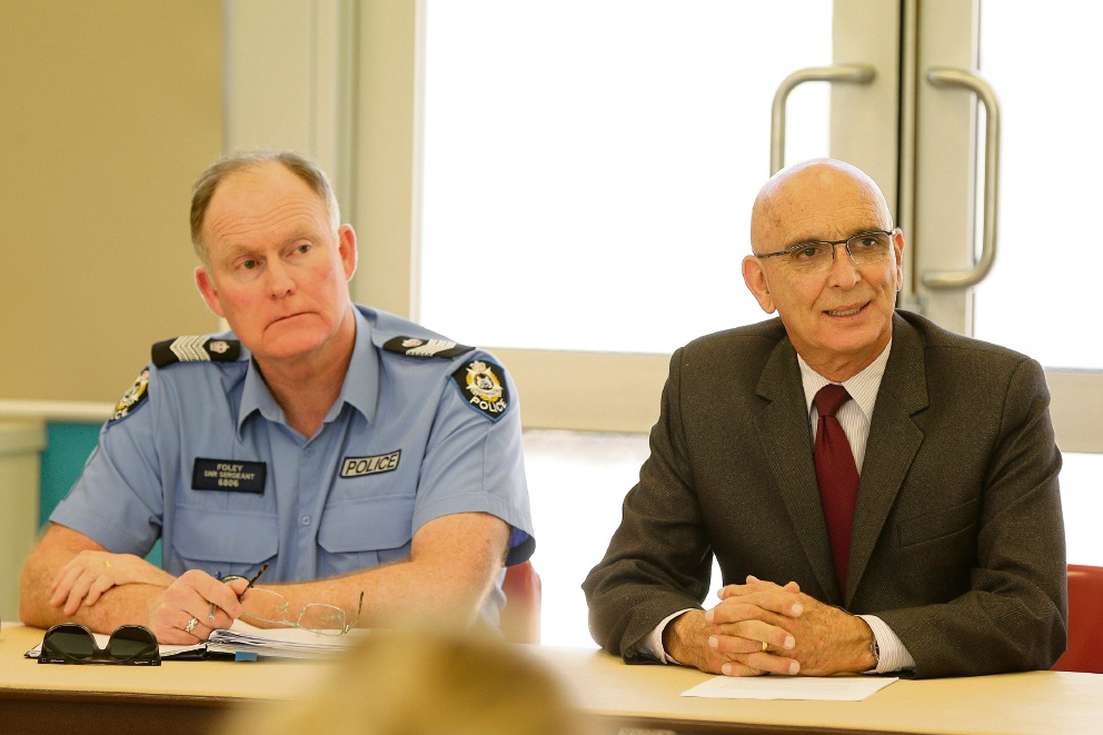 Inspector Dale Bell, Snr Sgt Stephen Foley, Butler MLA John Quigley and Tracey Roberts were among others at the forum. (Above left): PCYC chief executive John Gillespie. Right: Snr Sergeant Stephen Foley with  Butler MLA John Quigley.