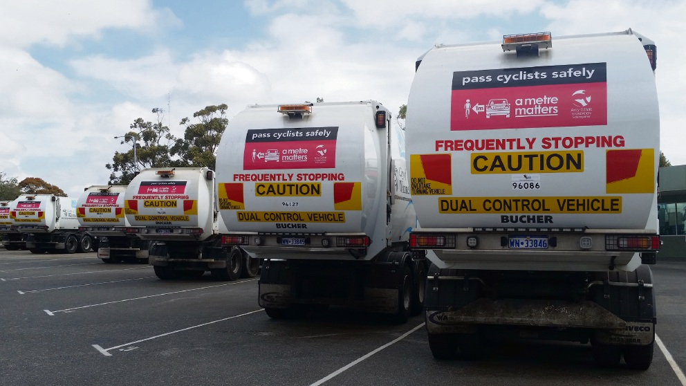 The cyclist safety stickers on City of Wanneroo waste trucks.