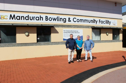 Mandurah Bowling and Recreation Club president Aled Williams with secretary Deanne Tyers and vice-president Warren Usher outside the club.