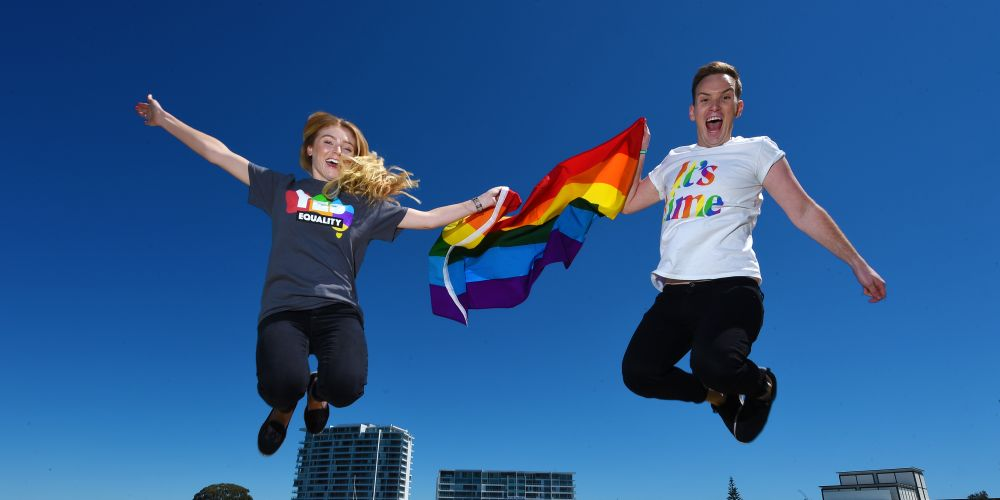Radio announcers Nikki Parkinson and Stephen Carter get ready for Pride in Peel. Picture: Jon Hewson d474651