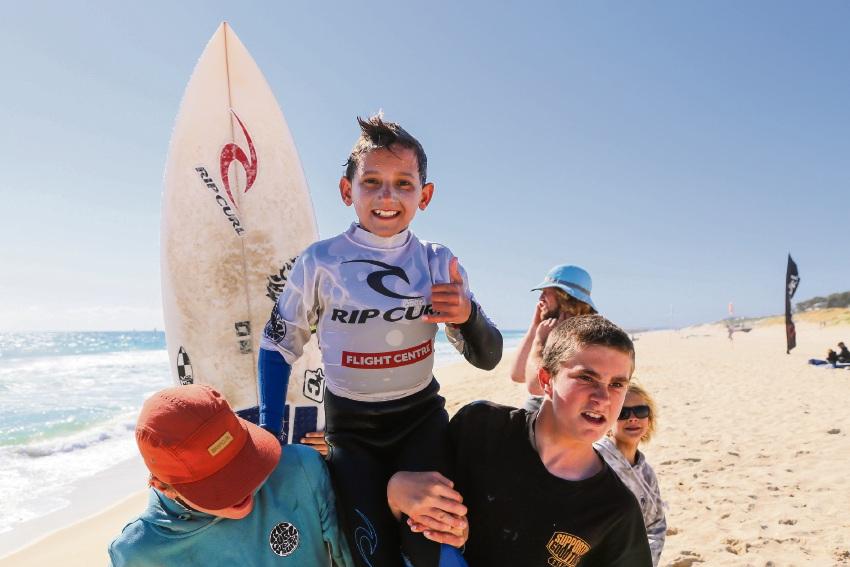 Maverick Wilson celebrates his win. Photo by Surfing WA/Woolacott