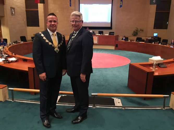 Mayor Troy Pickard and chief executive Garry Hunt before their final Joondalup council meeting together.