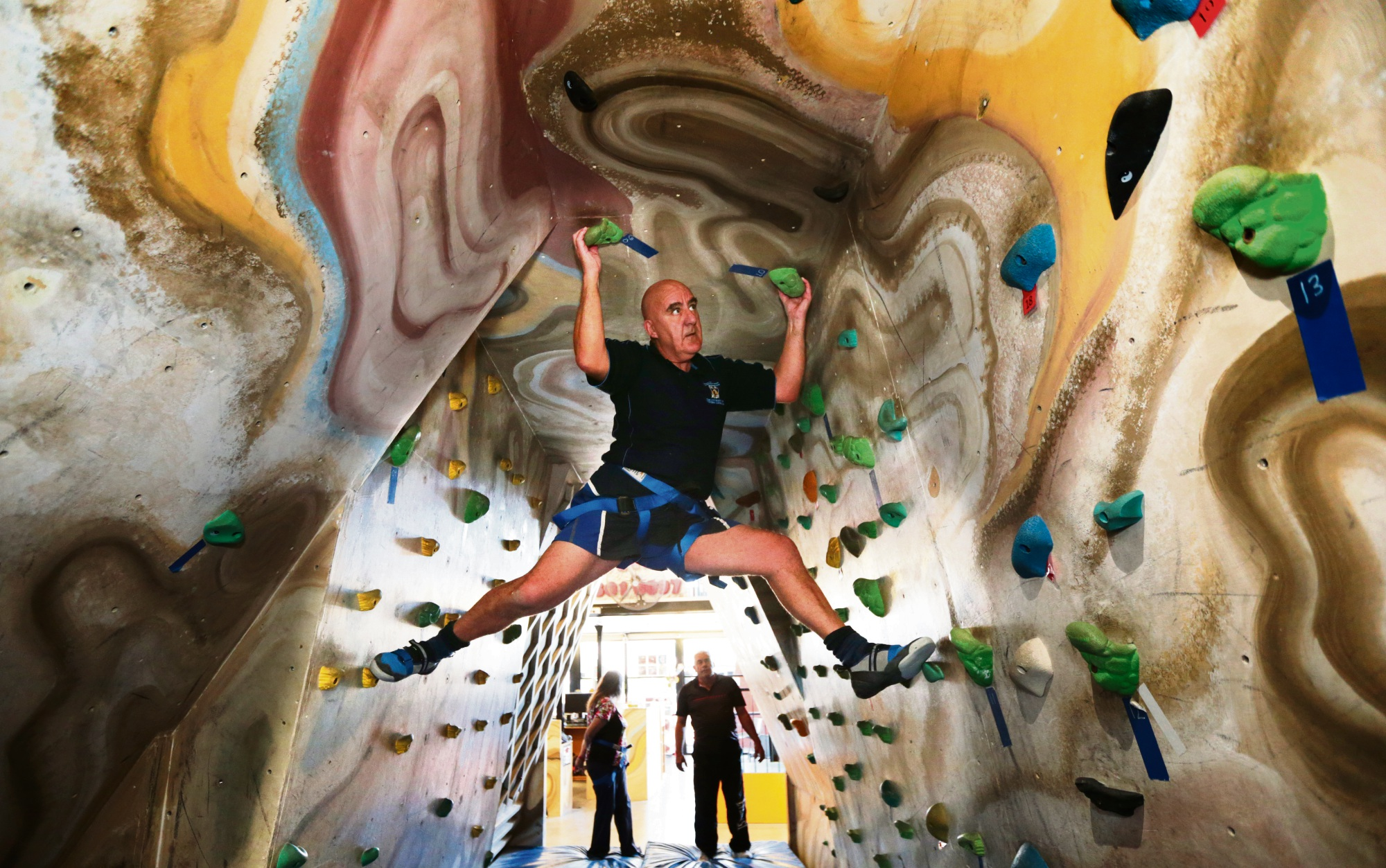 The City of Wanneroo's age-friendly strategy supports the Growing Old and Living Dangerously program, which included rock climbing that Alex Duff took part in at Joondalup Climbing Centre. Picture: Martin Kennealey d470302