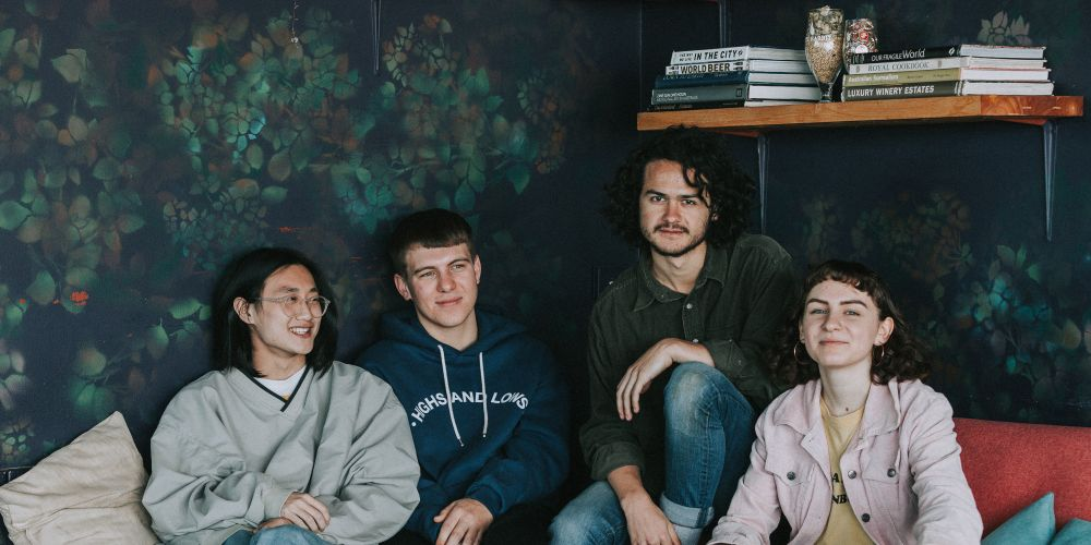 Mark Ashforth (second from left) with Demon Days bandmates Josh Chan, Marley Donnan and Bella Nicholls. Picture: Liam Thomson