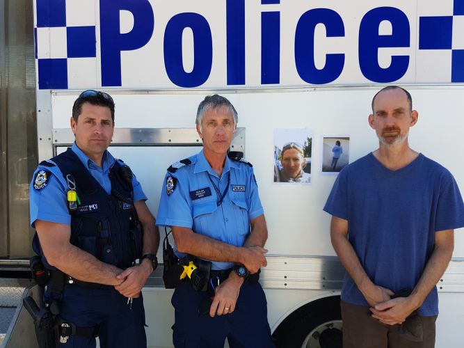 Senior Constable Mark Glover, Sergeant Marcel Walsh and Carole Livesey's husband Chris Lampard.