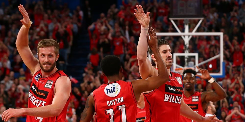 Greg Hire celebrates his deep court buzzer beater. Picture: Getty Images