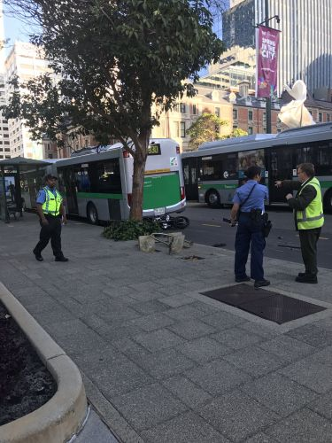 A motorcyclist and a bus have been involved in a crash on St Georges Terrace. Picture: Chelsie Stone / Twitter.