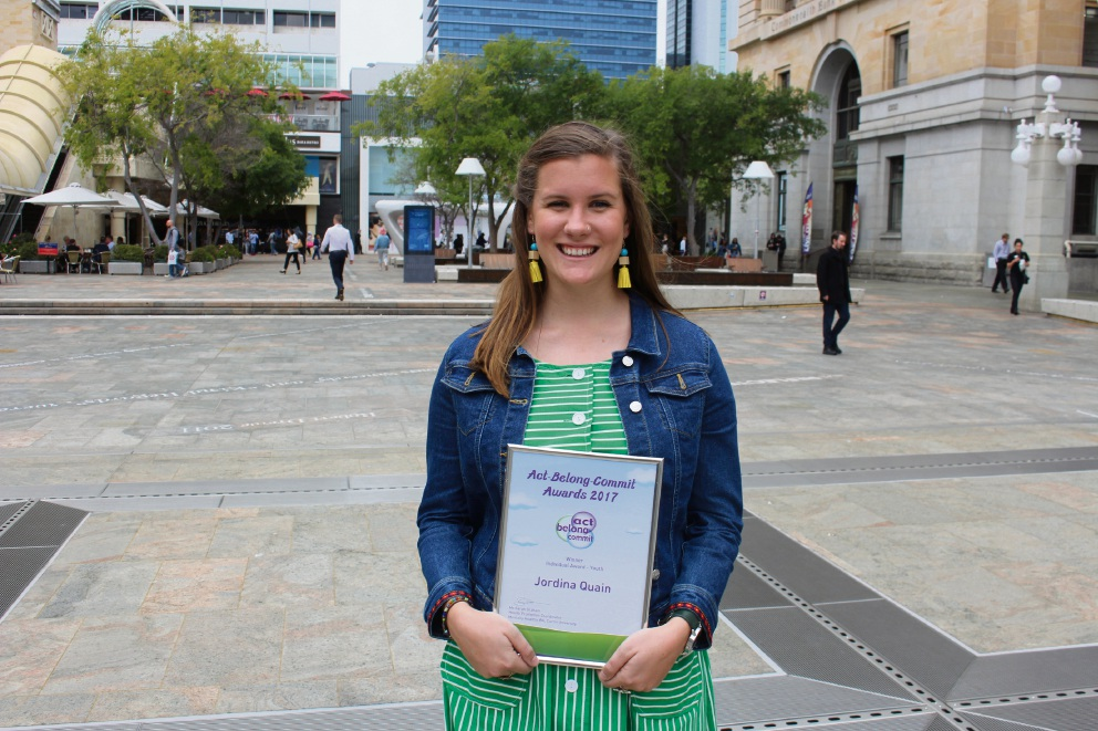 Burswood resident Jordina Quain's engagement with the community were recognised.