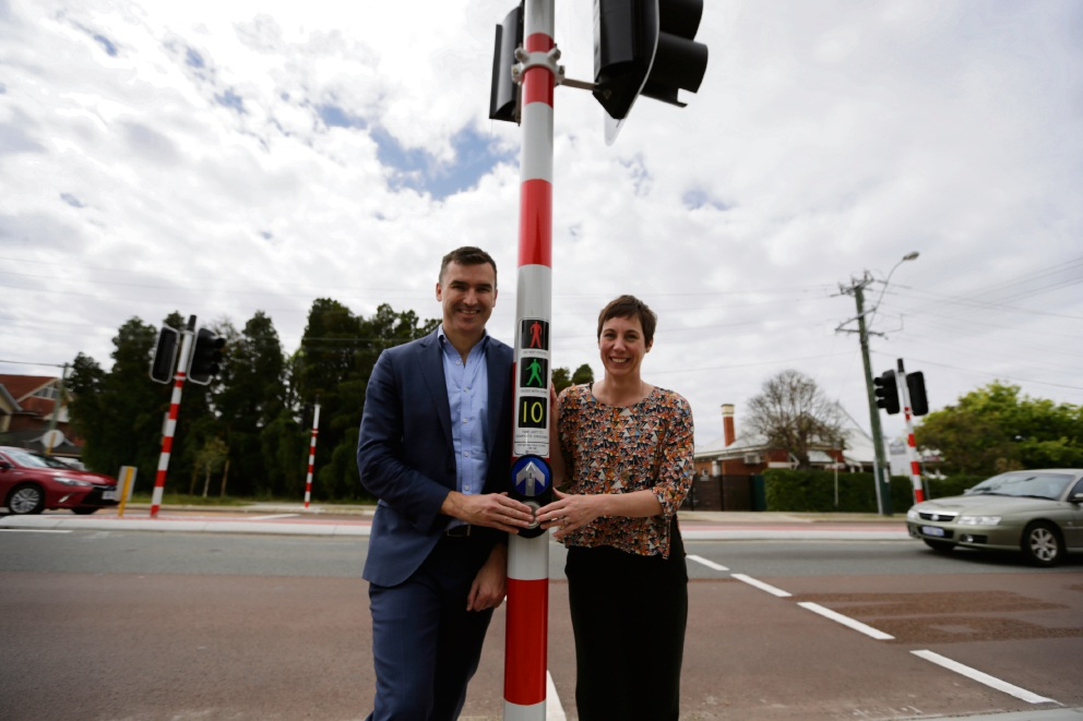 Perth MLA John Carey with Town of Vincent Mayor Emma Cole at new pedestrian crossing on Fitzgerald Street. Picture: Andrew Ritchie www.communitypix.com.au d474958