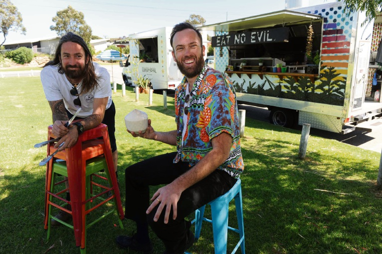 Food truck operators Ben French and Joel Rees. Picture: Jon Bassett