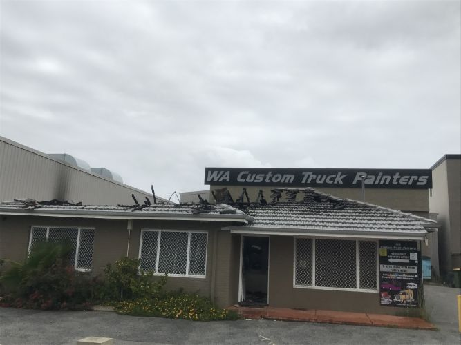 A deliberate fire at WA Custom Track Painters caused $200,000 worth of damage. Picture: Kristie Lim