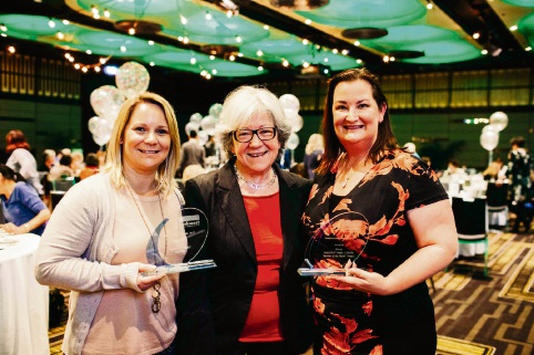 Yangebup Family Centre's Joanne McGillivray and Samantha Williams, with Linkwest patron Carmen Lawrence (centre).