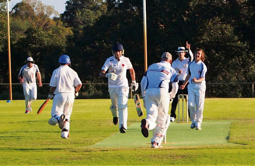 Clayton Stone celebrates one of his four wickets in Serpentine Jarrahdale's third grade victory.