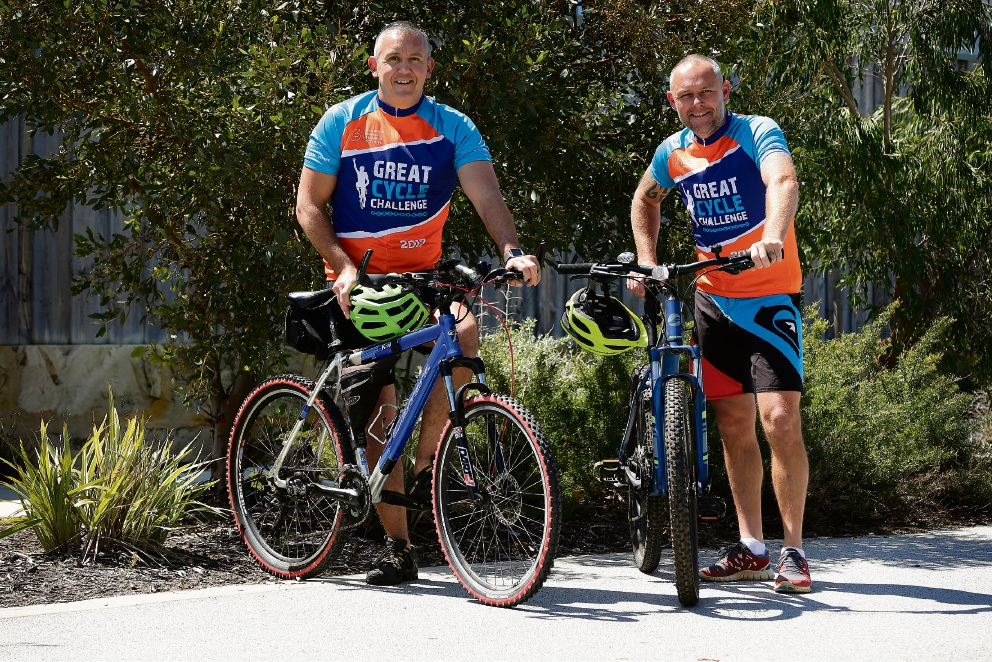 Spencer Clarke (left) and Mark Kearley will set off from Yanchep Beach primary on Friday to clcyle to Margaret River. Picture: Will Russell www.communitypix.com.au   d474554