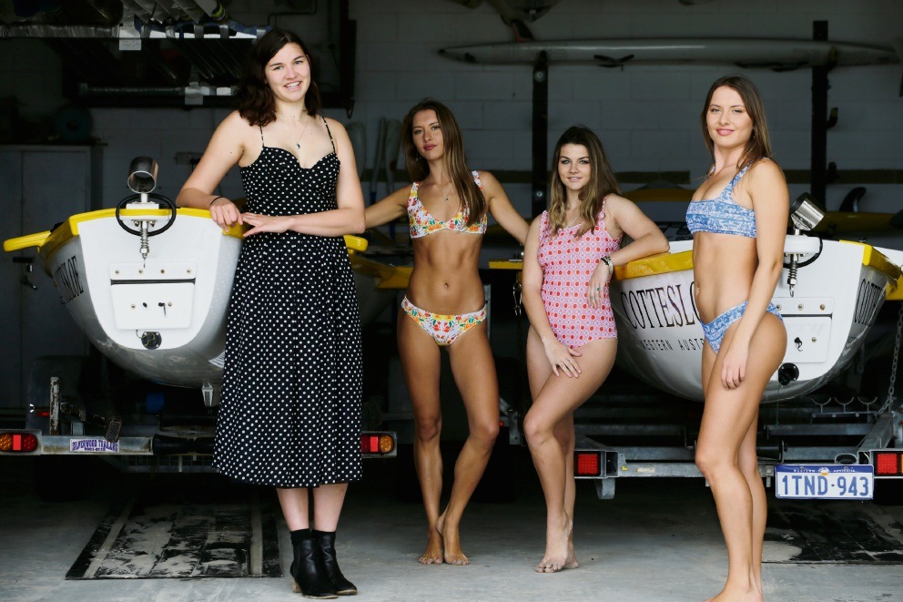 Designer Emma Ritchie  with models Miell Miller, Janade Rayner and Kyra Miller in her swimwear. Picture: Andrew Ritchie www.communitypix.com.au  d474892