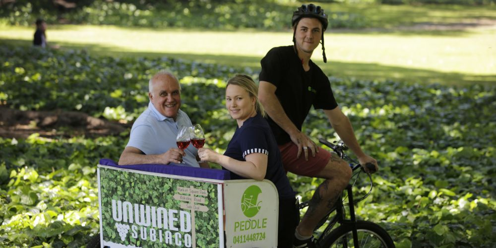 Wine man Richard Campbell with Jessica Ferrinda and owner of Peddle Perth Zac Duggan for Unwined Subiaco. Picture: Andrew Ritchie d474778