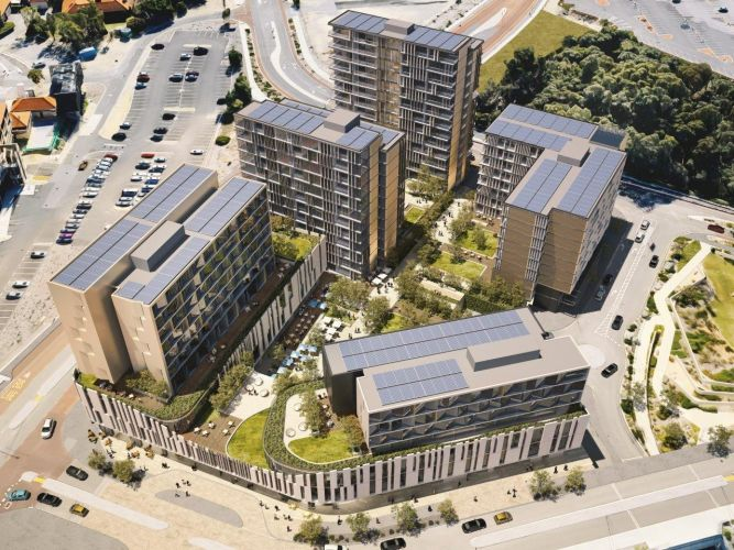 Artist's impression of the first stage of the Murdoch Health and Knowledge Precinct.
