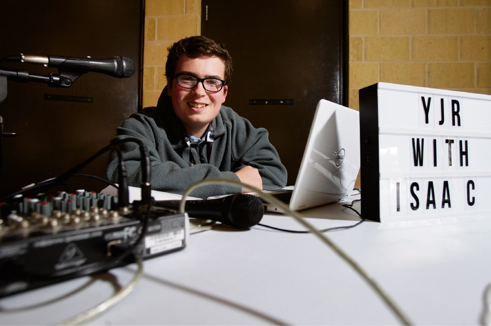 Isaac Mulcrone (16), radio DJ and founder of Youth Jam Radio, pictured during broadcast at Somerly Primary School. Picture: Marie Nirme d474290