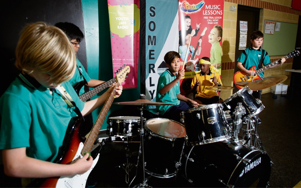 Somerly Primary's school band Sound Squad performing during Youth Jam Radio's live broadcast from the school. (L-R) Will Lovett (11), Daeniel Munar (11), Aidan Sazali (11), Mkenji Jean (10) and Andrew Khomoutov (11). Picture: Marie Nirme d474290