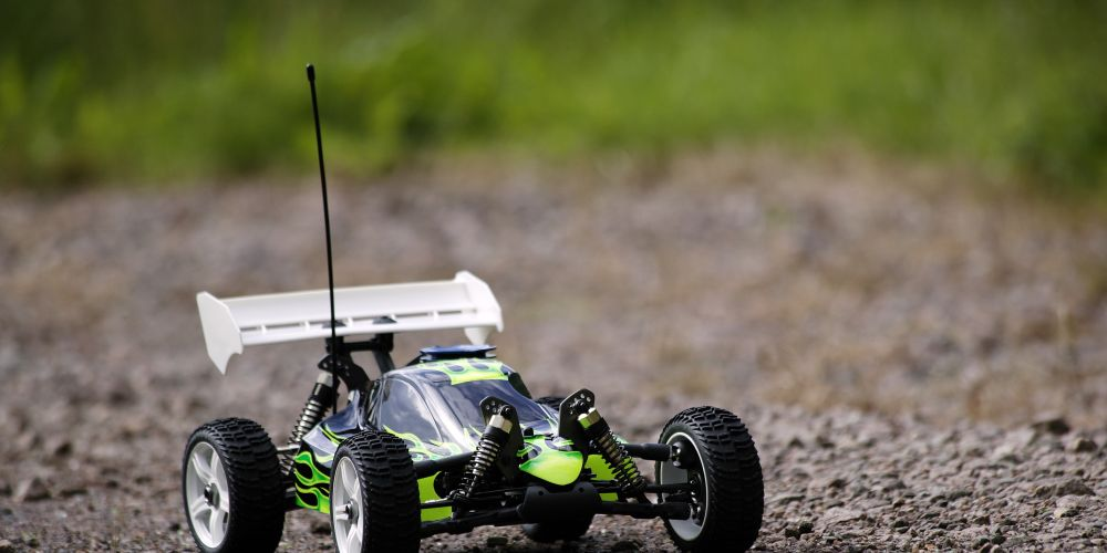 Radio Controlled Buggy on Gravel Track Ready to Race.